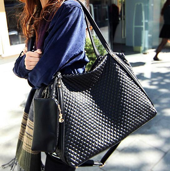 ETN BAG hot sale women PU Leather handbag female plaid printing large tote lady big shopping bags