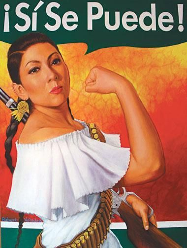 """Rosita Adelita""by Robert Valadez. The aritst chose to combine Rosie the Riveter with La Adelita, a fictional character from the Mexican Revolution because he says both are feminist archetypes that speak to the empowerment of women. The message Valadez wants to portray to the community through ""Rosita Adelita"" is Latina female empowerment and pride."