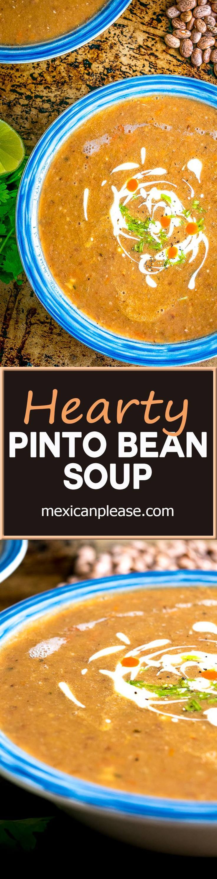 Sopa Tarasca is one of Mexican cuisine's most popular soups -- a hearty pinto bean soup that will keep you coming back for more.  Great flavor with just a hint of spice from a chipotle in adobo.  So g