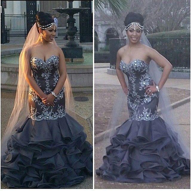 Black Gray Ruffled Wedding Gown
