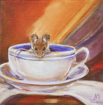 """""""Tea For One"""" Mouse in a Tea Cup, painting by artist Art Helping Animals"""