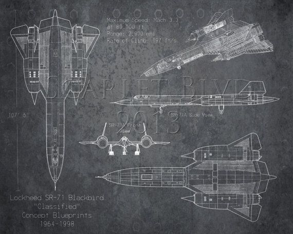 SR-71 Blackbird airplane blueprint art, aviation decor ...