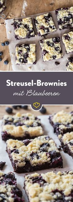 Unter einer knusprigen Streuseldecke - da haben sich Schokolade und Blaubeeren also versteckt. Also weicher Brownie und fruchtiges Topping.
