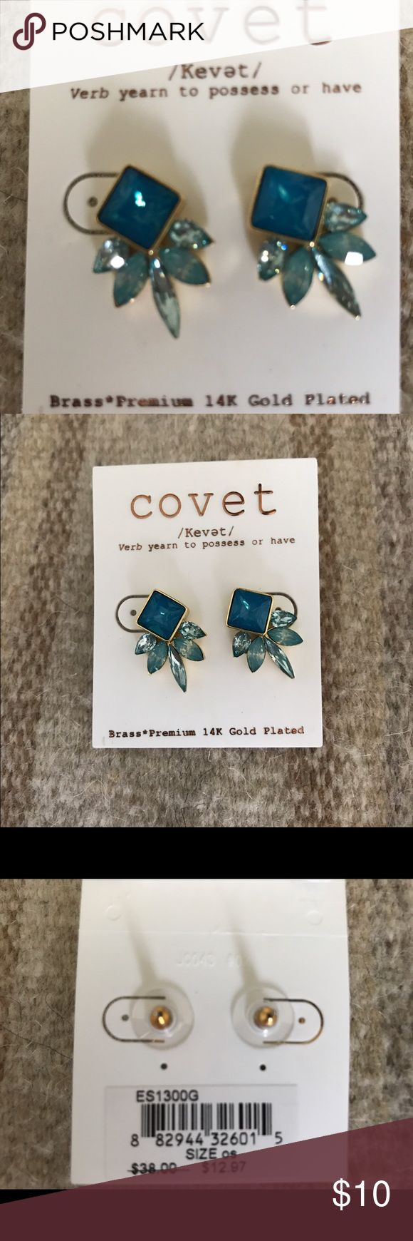 NWT Covet Blue Statement Earrings Super fun! Bought to wear to a wedding and ended up wearing something else. Purchased at Neiman Marcus Neiman Marcus Jewelry Earrings