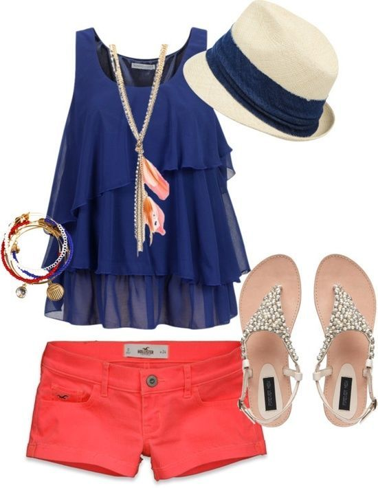 Navy and coral! if only the shorts were longer.