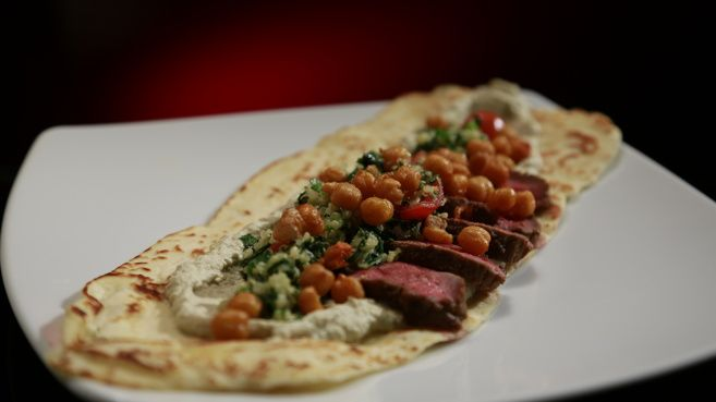 Lamb, chickpeas, baba ganoush and flatbread