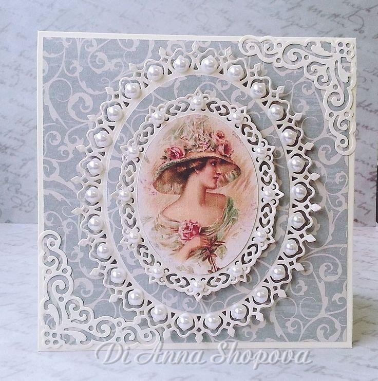 Birthday handmade card female pearls shabby lace chic, spellbinders