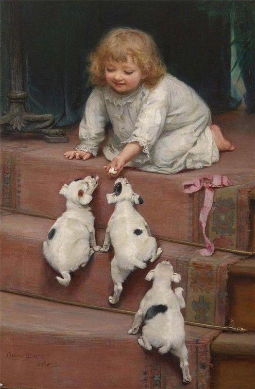 Huile sur toile d'Arthur John Elsley (1860-1952) peintre anglais de la fin de la période victorienne.