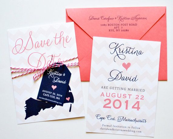 Chevron Save The Dates, Destination Wedding, Chevron Wedding Invitations, Navy and Coral, Navy, Coral
