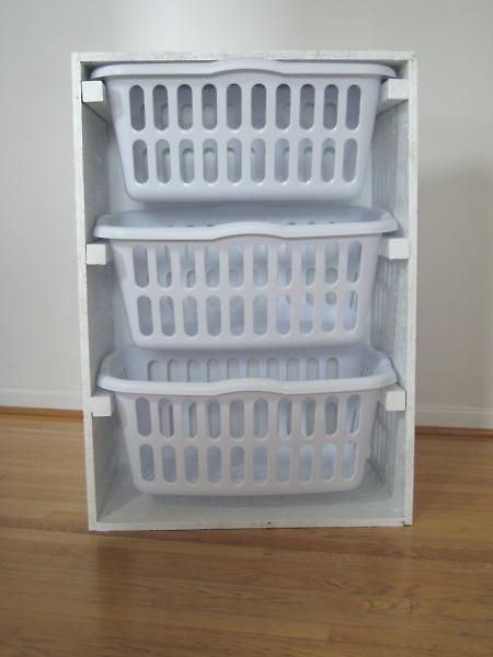 garage laundry idea. good space saver. also, you wouldn't have to guess if you had enough for a whole load. put it on wheels and it's perfect for an apartment.