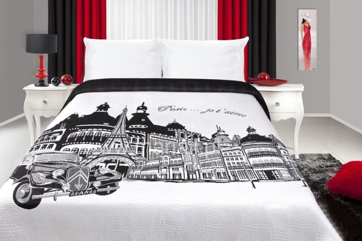 Biely prehoz na postele s potlačou mesta Paríž