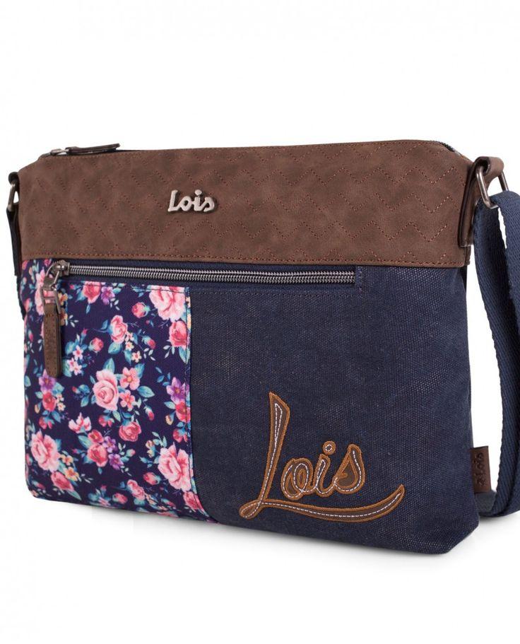 Bolso bandolera con doble cremallera de la marca Lois en tejano