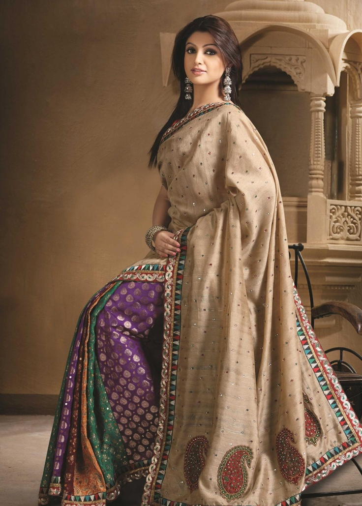 Brown Art and Brocade Silk Saree 19365 With Unstitched Blouse