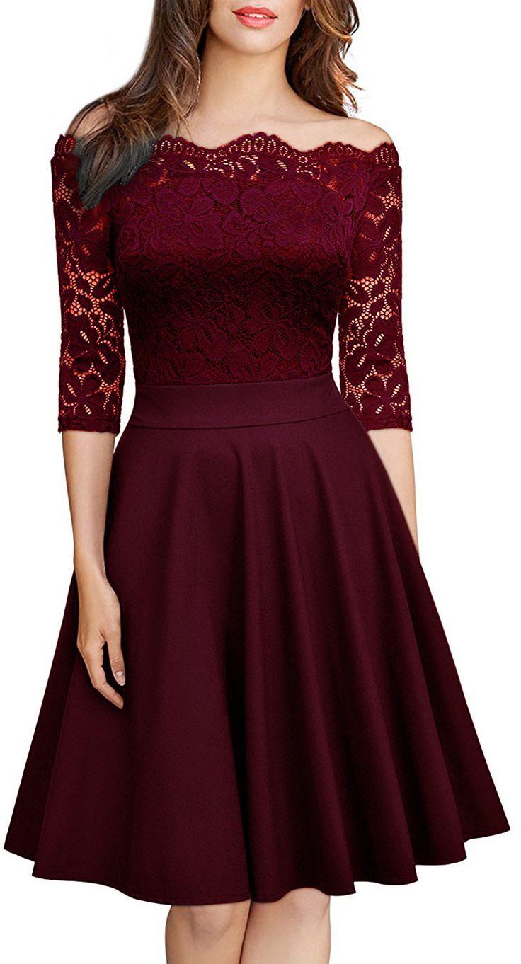 Slash Neck Half Sleeve Lace A-line Dress