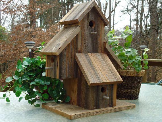 Rustic reclaimed cedar highrise birdhouse by BigBillsBirdHouses, $189.00