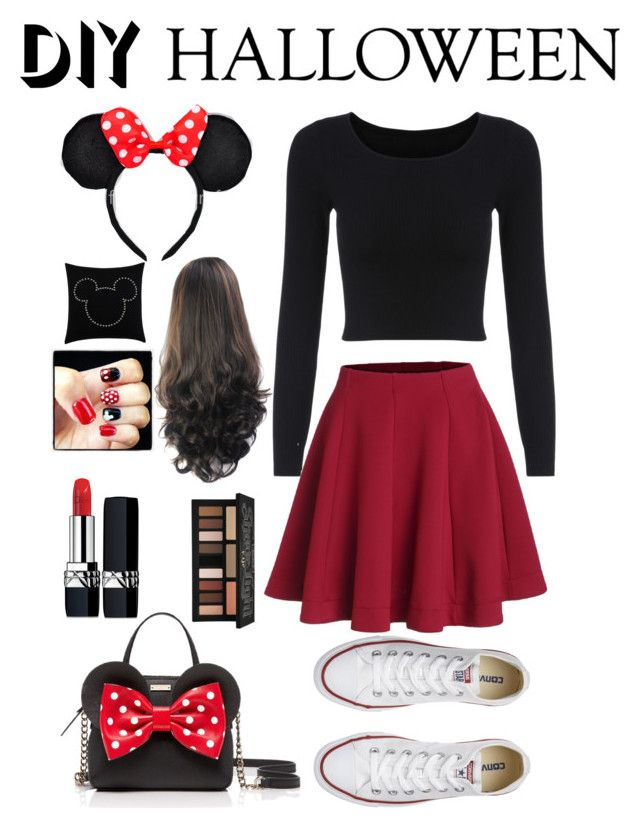"""Mini mouse costume"" by haleyshimmer on Polyvore featuring Converse, Christian Dior, Kat Von D, Kate Spade, Ethan Allen, halloweencostume and DIYHalloween"
