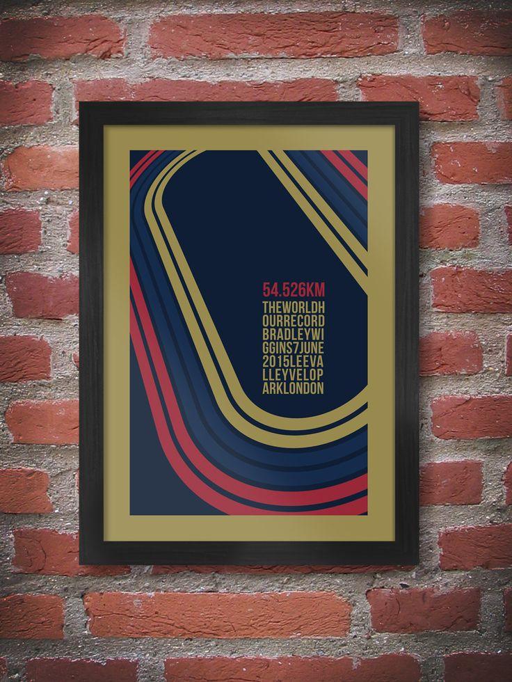 Sir Bradley Wiggins world record holder of The Hour. Wiggins cycling poster. The hour cycling poster print Lee Valley Velo.