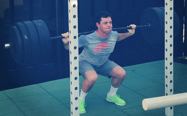 Rory McIlroy gets a leg workout in. (Instagram)