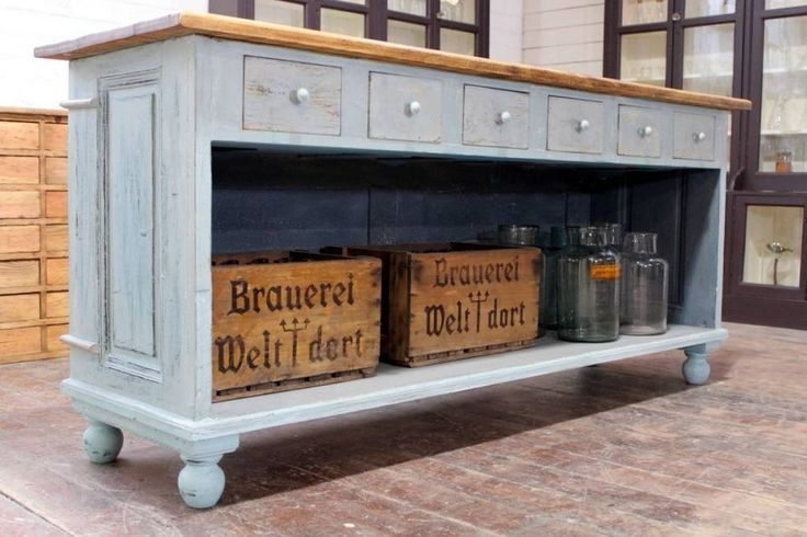 Original Painted Shop Counter/Kitchen Island/Butchers Block Vintage Haberdashery in Antiques, Antique Furniture, Sideboards | eBay