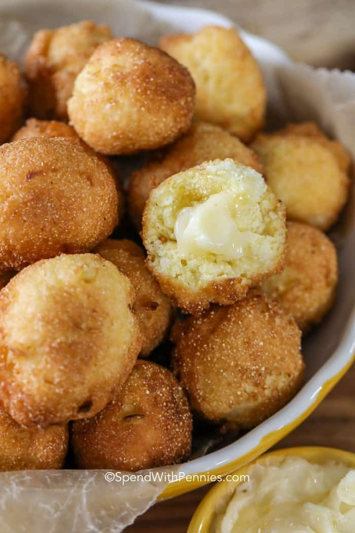 We Love Making This Hush Puppy Recipe To Go Alongside Some Fried Chicken Or Biscuits And Gravy Hush Puppies Recipe Easy Hush Puppy Recipe Homemade Hushpuppies