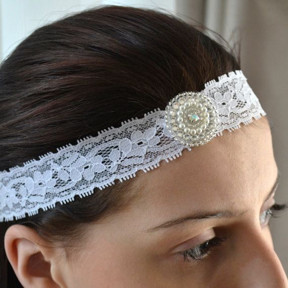 Lace Wedding Headband, Swarovski Crystal and Pearl Wedding Hair Accessory, Crystal Wedding Headpiece, Boho Wedding, Boho Chic Lace Wedding