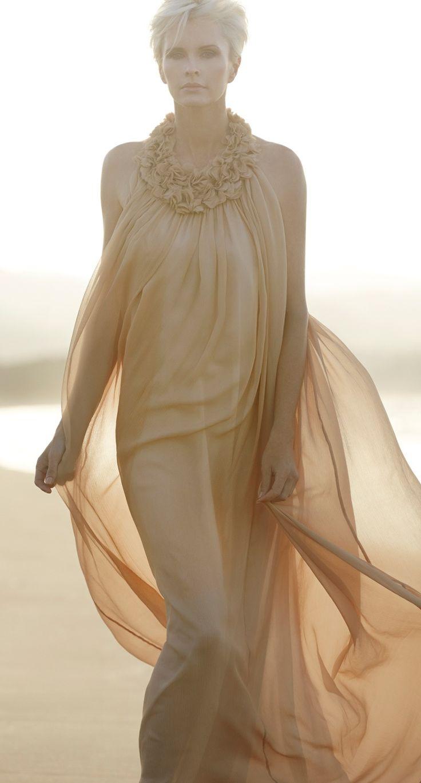 Paula Ryan Halter Neck Gown Feel summer's romantic sheer spirit in a Pure Silk & Velvet Chiffon Halter Neck Gown.
