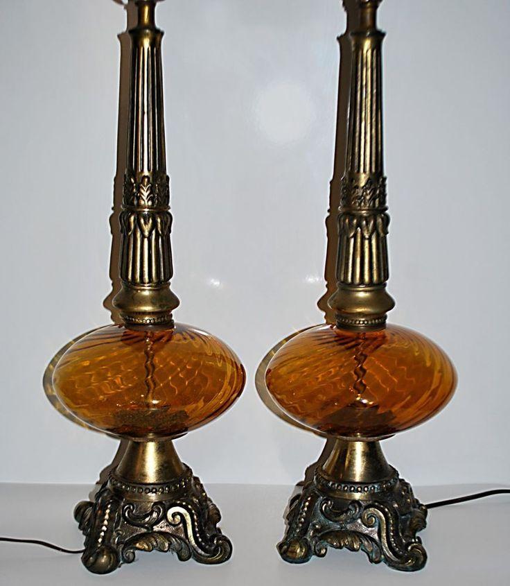 hollywood regency lighting. pair vtg hollywood regency amber swirl glass globe table lamps w acanthus base vintagehollywoodregency lighting