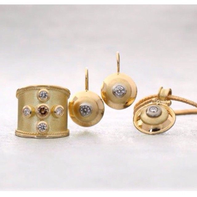 """""""Katie King retrospective:  Beautiful satin finished gold with champagne & white diamonds."""""""