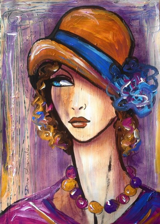 """""""La  Strada..."""" (Peinture),  29,7x42 cm par Dam Domido Portrait de femme rétro, style art déco contemporain"""