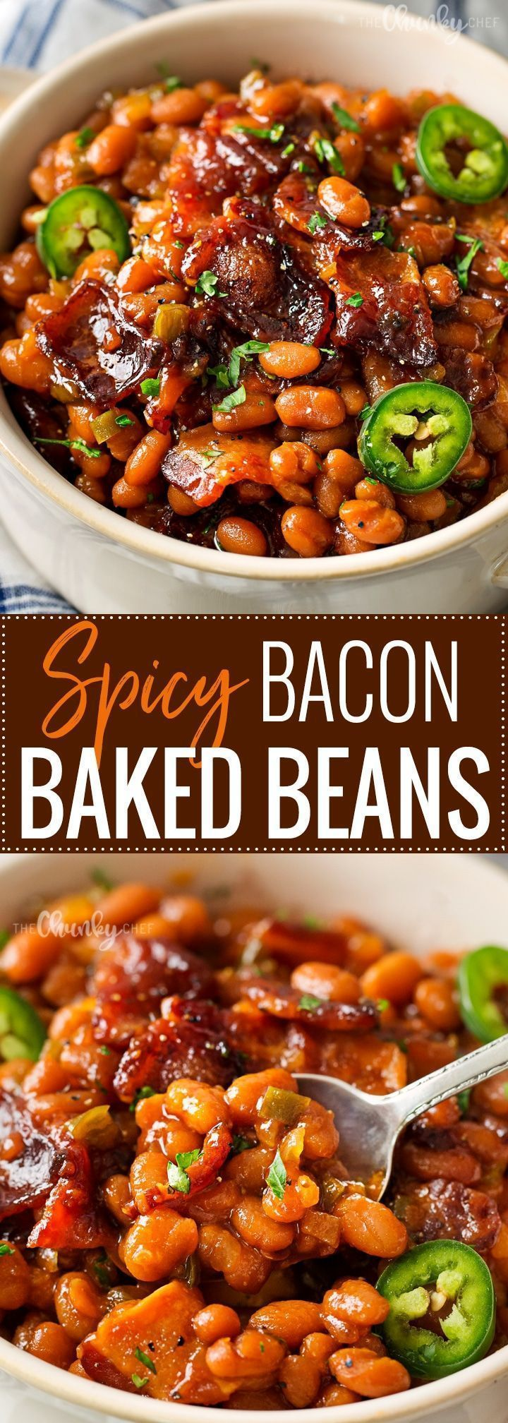Spicy Baked Beans with Bacon   Perfect for cookouts or summer BBQ's, these baked beans with bacon have a mouthwatering spicy kick from jalapeños that make for an unforgettable side dish!   http://thechunkychef.com