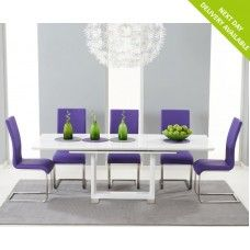 Beckley High Gloss Furniture White Extending Purple Dining Set
