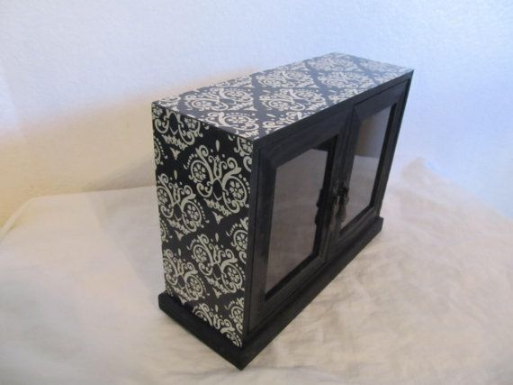 Gothic Victorian Tabletop Curio Cabinet Black And by funhouse777