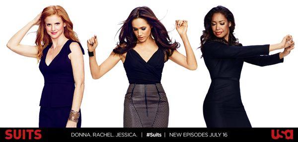 Suits promo saison/season 3 : Donna Paulsen (Sarah Rafferty), Rachel Zane (Meghan Markle), Jessica Pearson (Gina Torres) - article photogeniques.fr