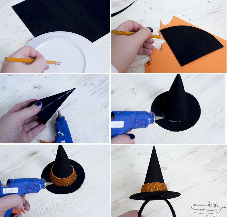 Si paraHalloweenos habéis decidido  hacer un sombrero de bruja casero con goma eva negra.