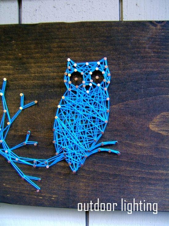 Modern String Art Wooden Tablet � Owl SIlhouette.