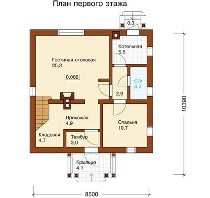 План первого этажа проекта K-136-1P