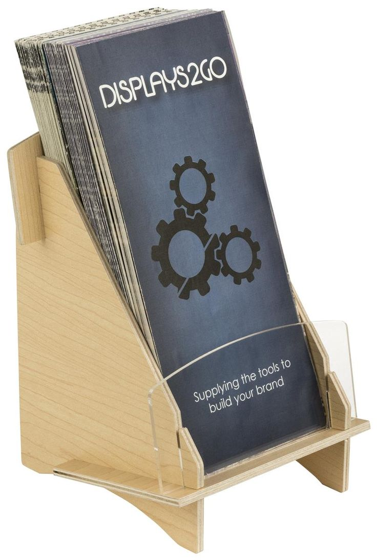 Single Pocket Plywood Brochure Holder for Tabletop, Fits 4 x 9 Pamphlets - Plywood
