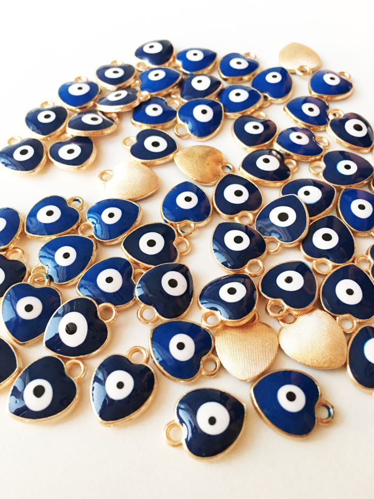A personal favourite from my Etsy shop https://www.etsy.com/listing/472896069/5pc-heart-evil-eye-charm-enamel-evil-eye