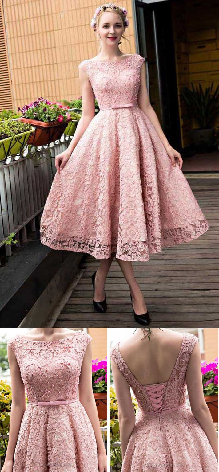 A-line Prom Dress,Scoop Neck Homecoming Dress,Lace Homecoming Dress,Tea-length Homecoming Dresses, Pink Homecoming Dress, Short Prom Dress,Cute Homecoming Dresses,Short Homecoming Dresses