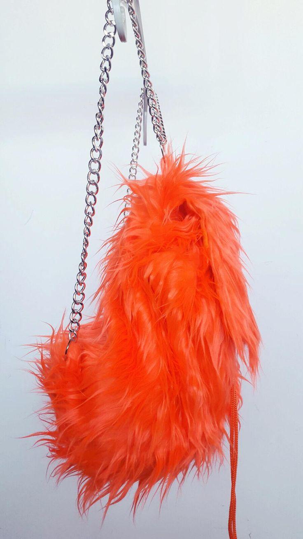 Backpack, orange backpack, faux fur backpack de FisionGirl en Etsy