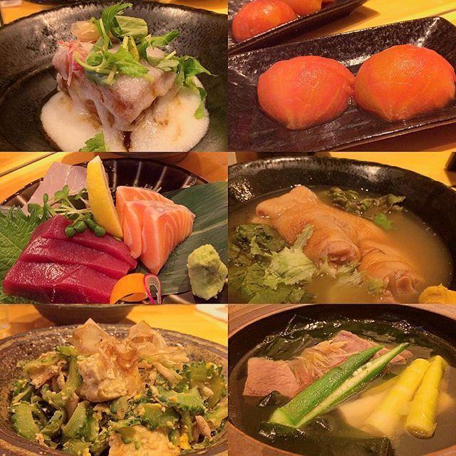 沖縄料理、最後に食べれました☆Birthday dinner🍴滞在、少し長めにしておいて良かった✨ラフテーのあんかけ🍖トマトのシークワーサー漬け🍅お刺身🐟テビチの煮込み🐽ゴーヤチャンプルー🍳牛タン煮込み🐮どれも、優しいくて、ホッとするお味でした😊ヤムヤム。  #dinner #meat #pork #salad #tomato #fish #beef #okinawa #japanese #food #yummy #ディナー #沖縄料理 #郷土料理 #ラフテー #肉 #チャンプルー #豚足 #テビチ #魚 #牛 #豚 #トマト