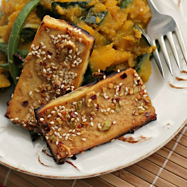 ... winter squash and green beans sesame tofu with braised winter squash