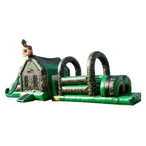 EZ Inflatables 49 ft. Army Obstacle Course Bounce House - I174