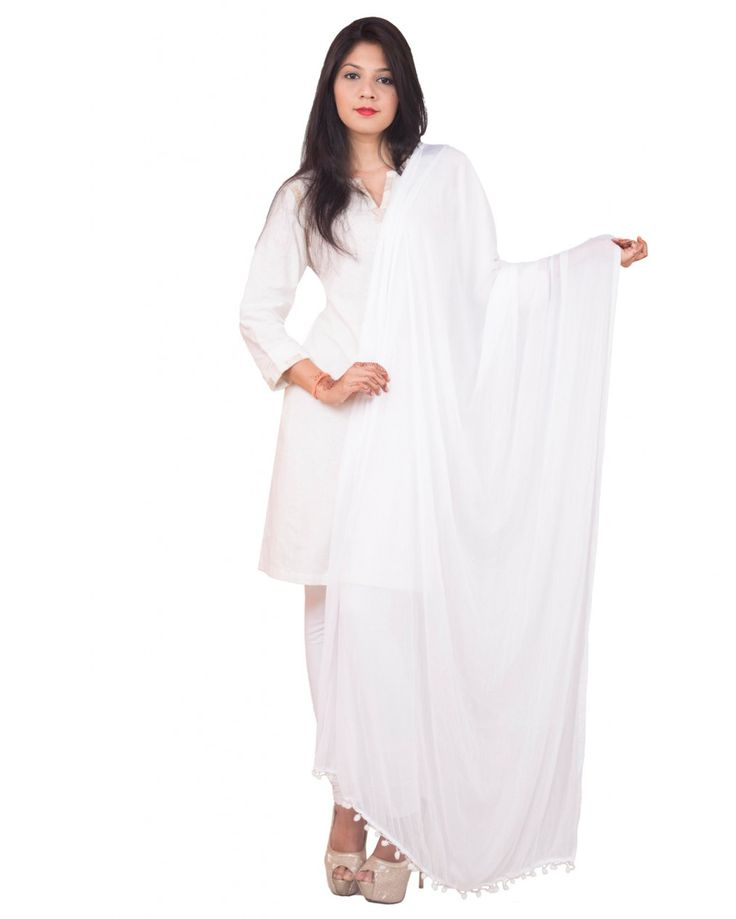 White Color  Soft Chiffon Dupatta