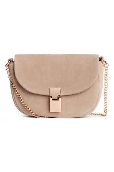 Suede shoulder bag - Light beige - Ladies   H&M GB 1