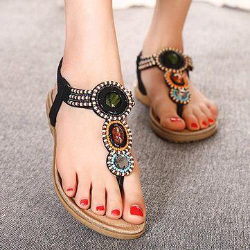 US Size 5-11 Women Bohemian Casual Beach Flat Sandals - US$24.99