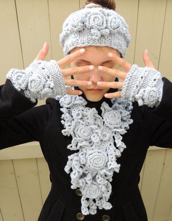 RoseOnie Scarf Silver Grey Crochet Scarf. Rose by IntricateKnits
