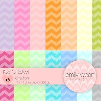 Digital Paper - Ice Cream - Chevron Background- FREEBIE!