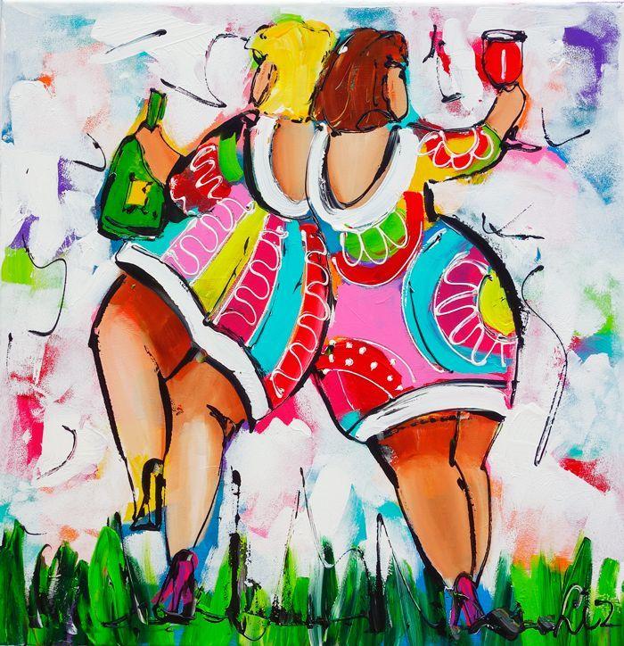 Vrolijk Schilderij Dames wit wijn