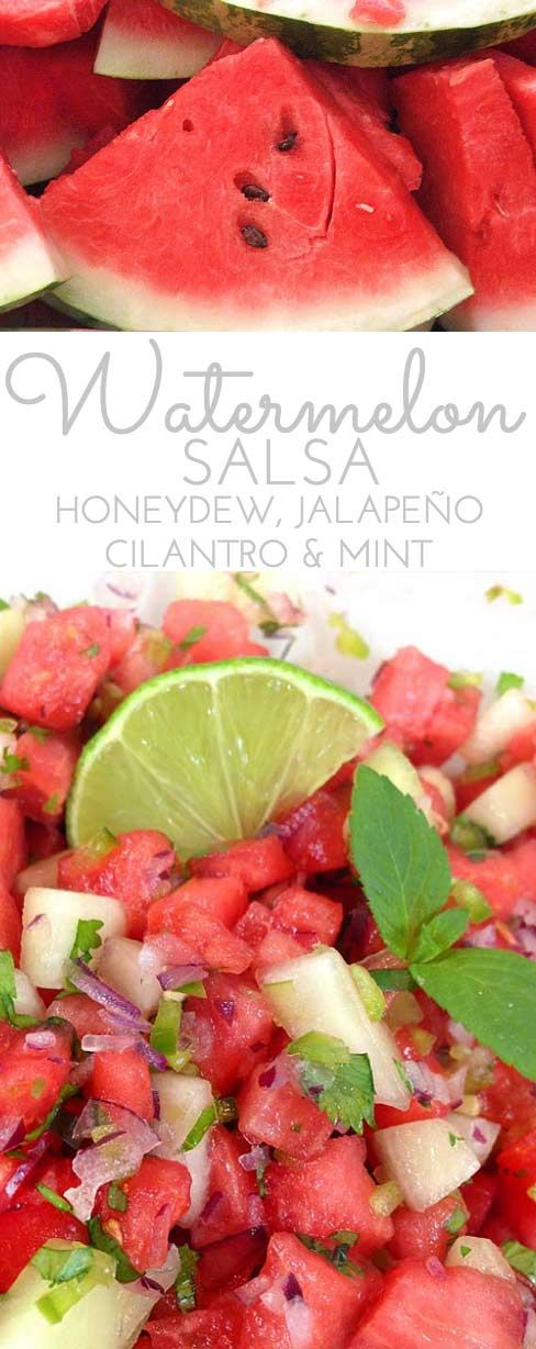 Watermelon Salsa: refreshingly sweet & spicy in summer. Honeydew, jalapeño, sweet red onion, cilantro and mint combine w/fresh squeezed lime juice! Perfect summer salsa twist! Make a double batch.